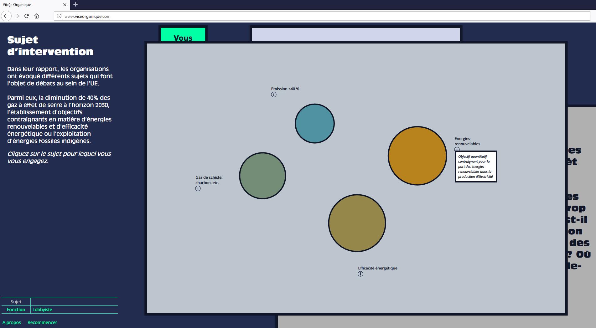 Etape 1 (identification). Capture Vi(c)e organique.
